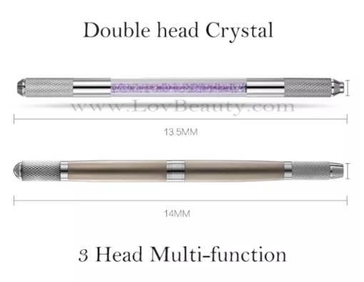 Permanent Makeup Manual Tattoo Eyebrow Microblading Pen Manual Double Heads Crystal Holder for Microblading Hari Stokes