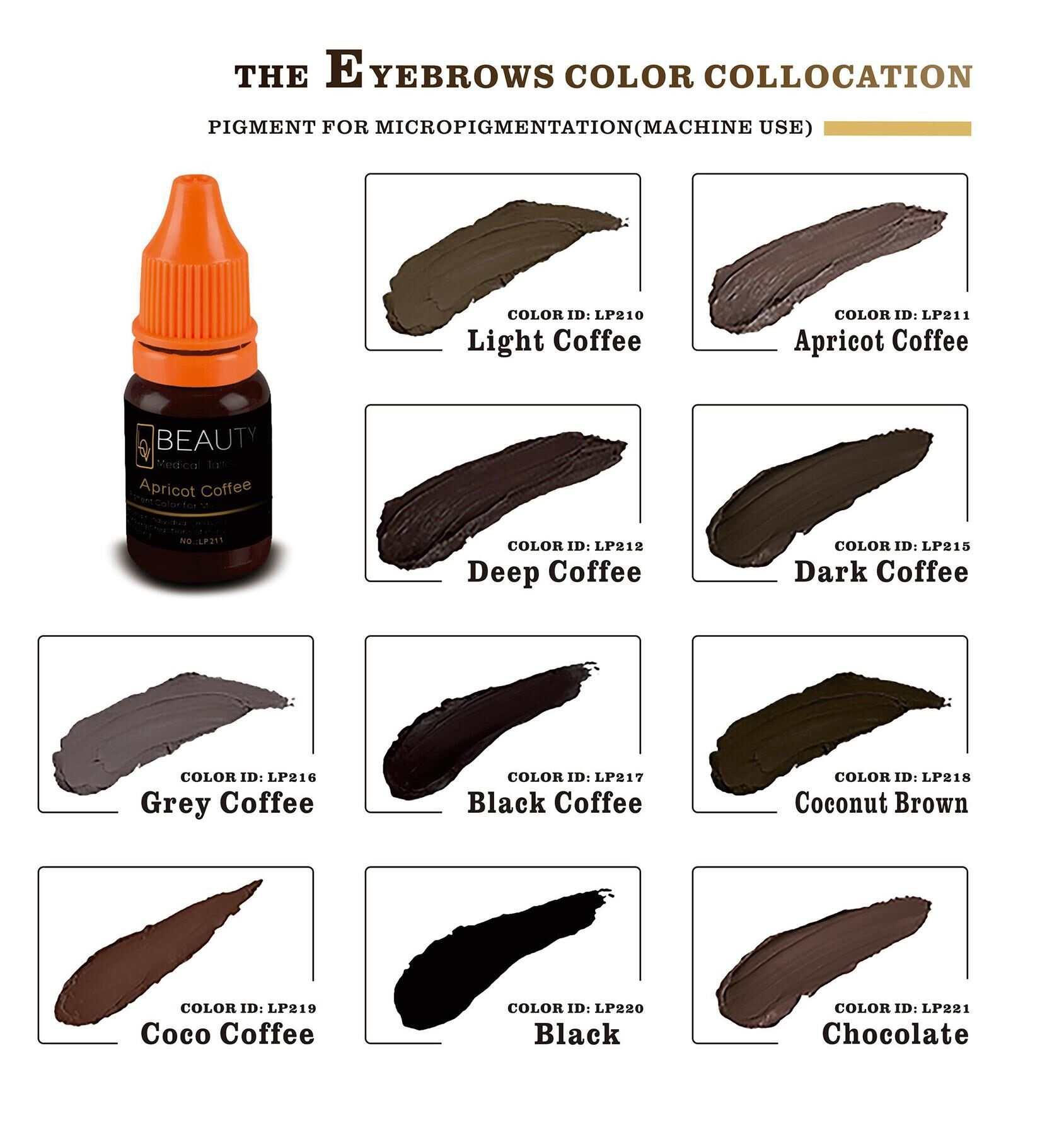 Microblading Pigment For Permanent Makeup Light Coffee. Microblading  Pigment For Permanent Makeup Eyebrow Colors