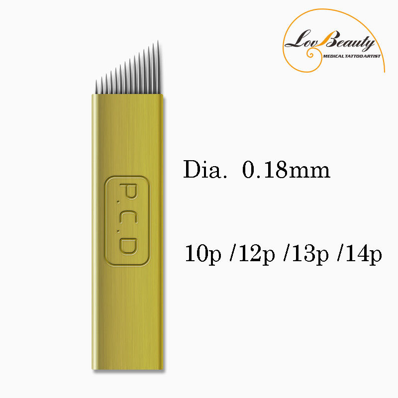 Wholesale Dia. 0.18 Mm 10 Pin Super Thin Microblading Blades Gold Hard Less Vibrationd